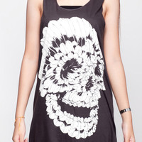 Skull Shirt Indian Feather Sugar Skull Top Women Tank Top Black Shirt Tunic Top Vest Sleeveless Women T-Shirt Size S M