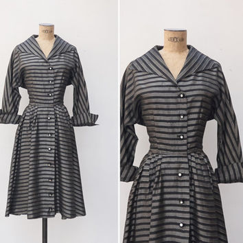 1950s Dress - Vintage 50s Grey & Black Striped Dress - Olga Dress