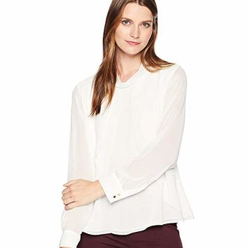 Calvin Klein Long Sleeve Woven Pullover Top