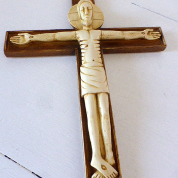 Vintage French, Modernist, Wall Crucifix