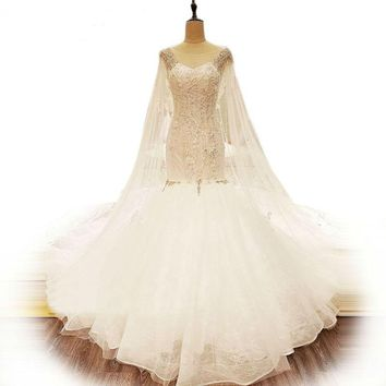 White Lace Wedding Dresses Crystal Mermaid Bridal Gown