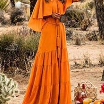 New Orange Draped Round Neck Short Sleeve Going out Maxi Dress