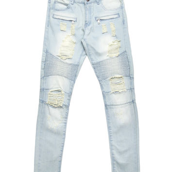 Embellish - Italia Ripped Biker Denim (Stone Wash)