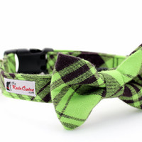 Green and Black Plaid Flannel Dog Collar (Matching  Dog Bow Tie Available Separately)