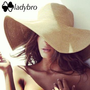 Ladybro Wide Brim Floppy Kids Straw Hat Sun Hat Beach Women Hat aaf2c7c191bf