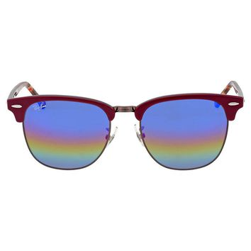 Ray-Ban Clubmaster Blue Rainbow Flash Sunglasses