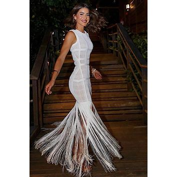 Brandy White Tassel Maxi Dress(Ready To Ship)