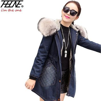 Winter Jacket for Women Denim Coat Big Faux Fur Collar Hooded Thick Padded Fleece Plus Size Fashion Women's Jeans Jackets Female