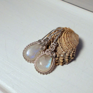 Rainbow Moonstone Teardrop Silver Earrings, Wire Wrapped Handmade Earrings