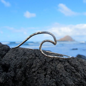 Wave Bangle, Sterling Silver, Hammered Bracelet, Surfer Girl, Hawaii Beach Jewelry, Ocean, Surf Summer Fashion, Mermaid Accessory
