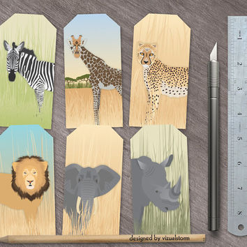 Large Safari Gift Tags, Digital Jungle Animal Hang Tags, DIY Zoo Gift Tags Jungle Animal Gift Tags Elephant Rhino Lion Zebra Giraffe Cheetah