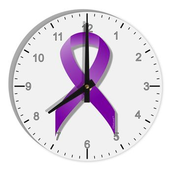 "Epilepsy Awareness Ribbon - Purple 8"" Round Wall Clock with Numbers"