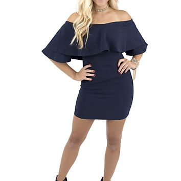 Women's Off Shoulder Mini Dress with Ruffle Overlay