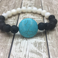 Beaded, Bracelet, Gift, Turquoise, Bohemian, Gemstone, White, Shell, Stretch, Yoga, Native American, Spiritual, Healing, Western, Hippie