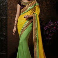 Yellow & Green Half and Half Saree with Brown Blouse
