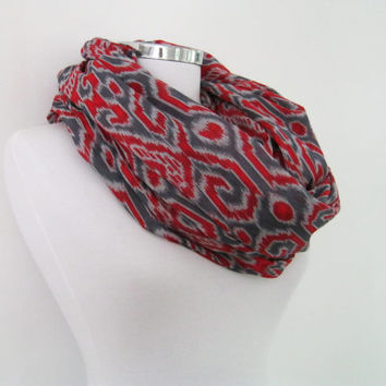 Ikat pattern infinity scarf, gray red cotton circle scarf