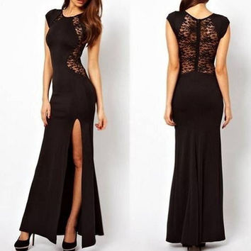 Women Summer Long Dress Lace Patchwork Sleeveless Tank Long Dresses = 1956601476
