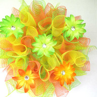 Summer wreath, summer decor, door wreath, home decor, deco mesh wreath, hawaiian themed wreath, citrus wreath, bright wreath