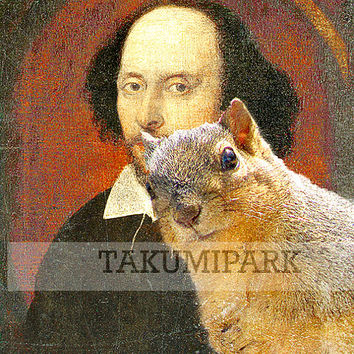 William Shakespeare Squirrel Photo Bomb, Pop Art, Kawaii Animal Art Print, Unique Wall Decor, Gift For Writers, Cute Art, Nature Artwork
