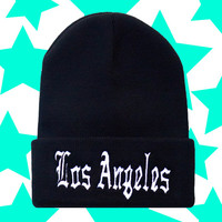 Los Angeles Old English Black and White Beanie / Womens Girls Knit Woven Unisex Hat Black Friday Cyber Monday SALE