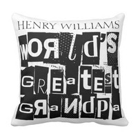 World's Greatest Grandpa Typography Add Name Throw Pillow