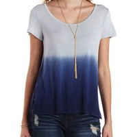 Navy Blue Cmb Dip-Dye High-Low Tee by Charlotte Russe