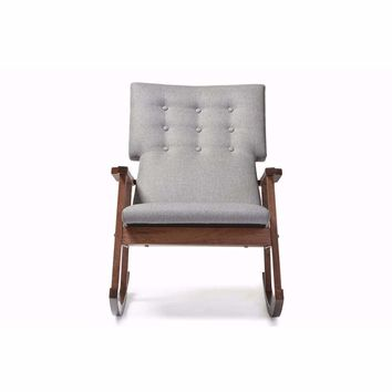 Agatha Mid-century Modern Grey Fabric Upholstered Button-tufted Rocking Chair By Baxton Studio