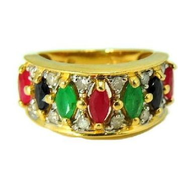 14k Gemstone Ring Anniversary Band Emerald Ruby Sapphire Diamonds Gold