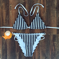 Stripe Halter Backless Beach Bikini Set Swimsuit Swimwear