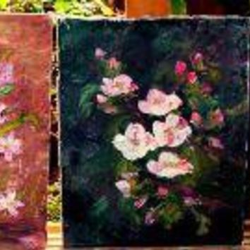 Set of Three Vintage Floral Oil Paintings by renauddesign on Etsy
