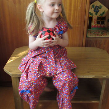 Girl Floral Outfit Set - Girl Clothing Floral Peasant Top Ruffle Pant Bottom Outfit Set  6 12  month size 2T 2 3T 3 4T 4 5T 5 6 7 8