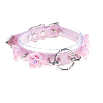 Generic Punk Handmade Faux Leather Spike Rose Flower O-Ring Choker Necklace