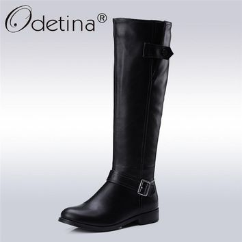 Odetina 2017 New Autumn Winter Womens Knee High Riding Boots Chunky Low Heel Wide Calf Zipper and Buckle Half Boots Plus Size 43