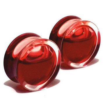 ac ICIKO2Q 2pcs fashion flesh tunnels ear plugs big gauge piercing ear expanders Red Liquid Blood Acrylic 8mm - 25mm pircing body jewelry