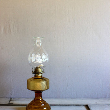 vintage oil lamp amber glass clear chimney with dancers eagle brand