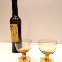 Mid-century modern amber glass whiskey or scotch glasses