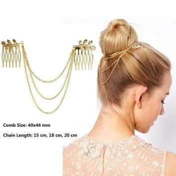 ONETOW Hot Cheap-fine Vintage Hair Accessories Double Gold Chain With Leaf Comb Head New Headbands For Women Girl Lady Free shipping
