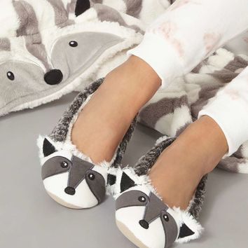Grey Racoon Ballerina Slippers - Shoes & Boots