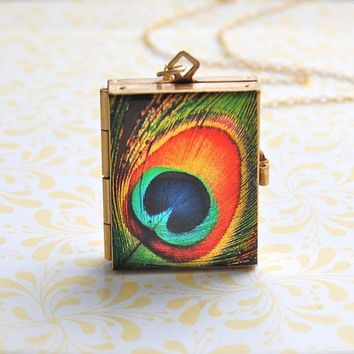 The Incredible FourWay Book Art Locket  Peacock Feather by verabel