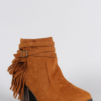 Dollhouse Suede Belted Fringe Chunky Heel Booties