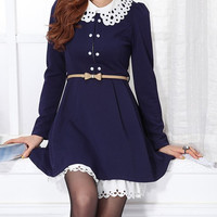 Blue Lace Collar Long Sleeve Layered Dress