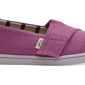TOMS - Tiny Classics Rose Violet Heritage Canvas Slip-Ons