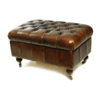 Chesterfield Leather Ottoman | Vintage Brown Cigar