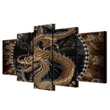 HD Printed 5 piece canvas art chinese dragon painting livingroom decor wall