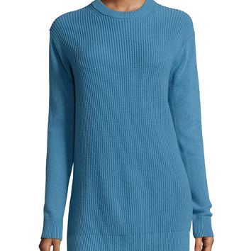 Long-Sleeve Shaker-Knit Cashmere Sweater,