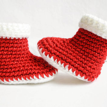Christmas Baby Booties - Crochet Baby Booties - Santa Claus Baby Outfit - Red and White Christmas Stocking