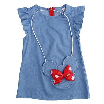 Cute Baby Girl Minnie Mouse Dress Bag Denim Fancy Dress Party Cotton Dresses For Girls