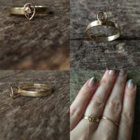 Vintage Geometric Tiny Diamond Pear Ring 10k Gold