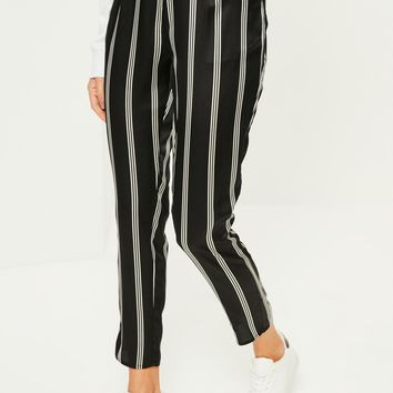 Missguided - Black Striped Satin Cigarette Trousers