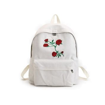 Rose Embroidered White Backpack